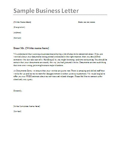 an example of a business letter