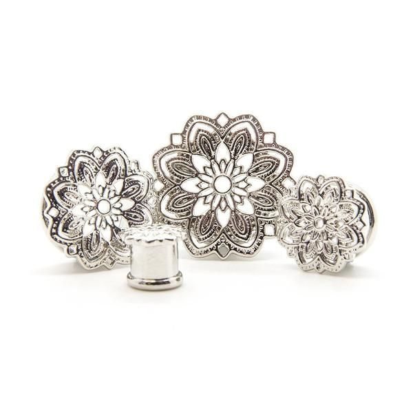 Silver Mandala Plug - Plugs - Ear Gauges, Flesh Tunnels for Stretched Ears…