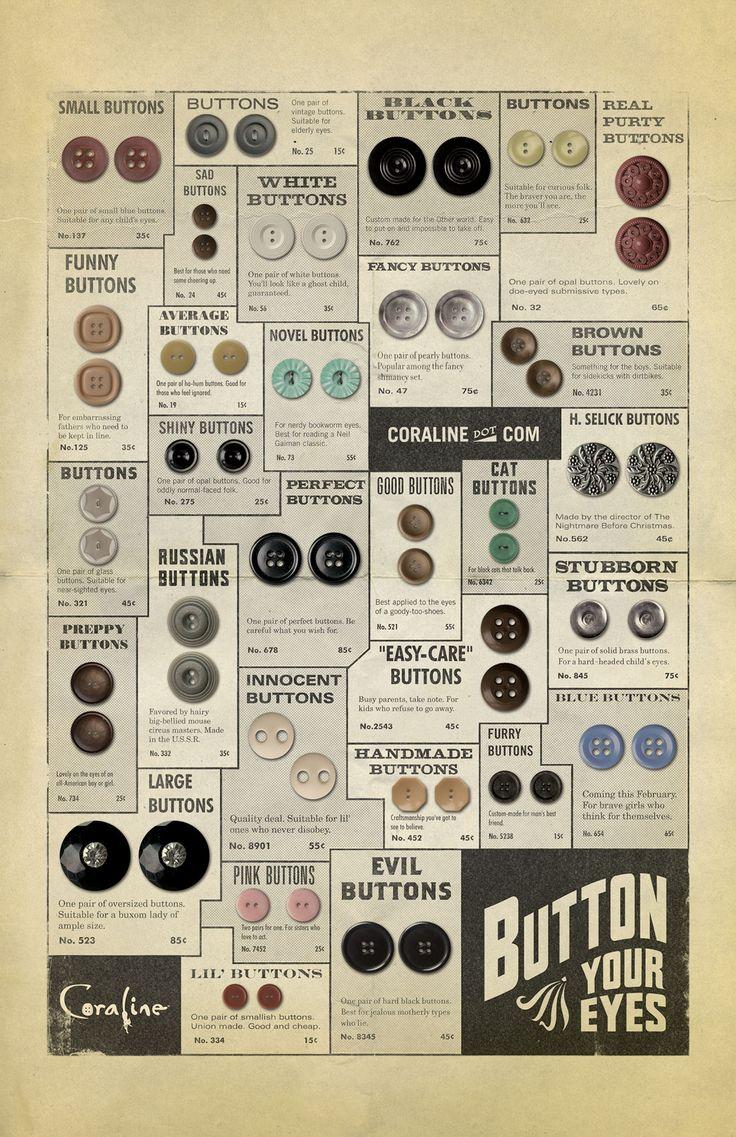 Button ad: Button Poster, Coraline Vintage, Vintage Buttons, Coraline Buttons, Craft, Movie Poster, Button Cards, Button Catalog