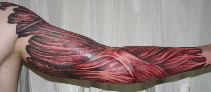 Arm with muscles tattoo