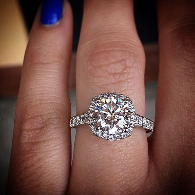 Tacori cushion halo engagement ring