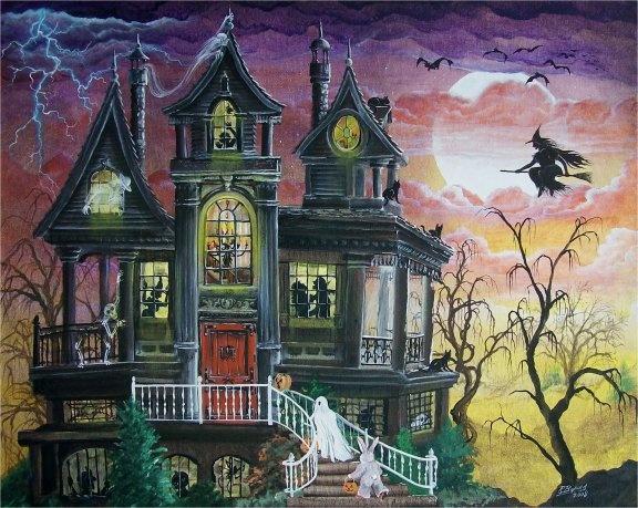 byrum folk art halloween haunted house print witch trick or treat mha - Halloween Haunted Houses Charlotte Nc