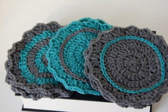 Set of 6 teal and grey crochet coasters $10