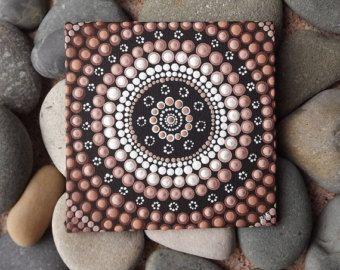 """Aarde Design schilderij, authentieke aboriginalkunst Dot door Biripi kunstenaar Raechel Saunders, 4 """"x 4"""" canvas bruin decor van de Raad van bestuur, acryl verf,"""
