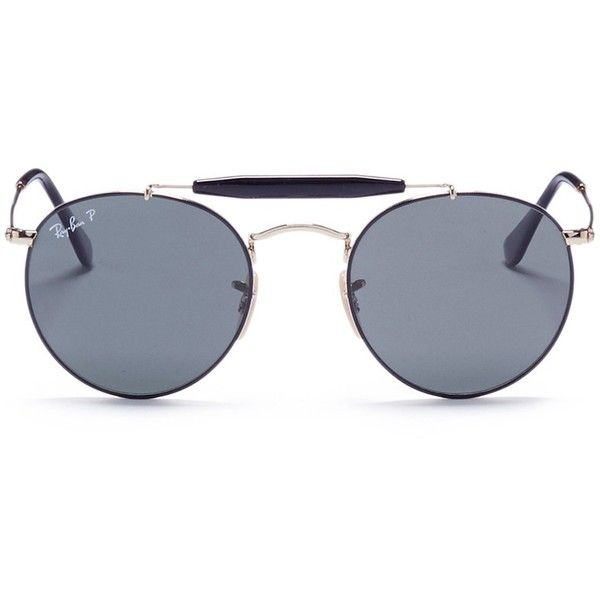 Ray-Ban 'RB3747' round aviator sunglasses (990 BRL) ❤ liked on Polyvore featuring men's fashion, men's accessories, men's eyewear, men's sunglasses, metallic, mens round sunglasses, ray ban mens sunglasses and mens aviator sunglasses