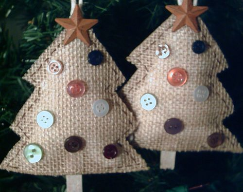 TWO NEW HANDMADE PRIMITIVE RUSTIC COUNTRY STYLE BURLAP TREES CHRISTMAS ORNAMENTS