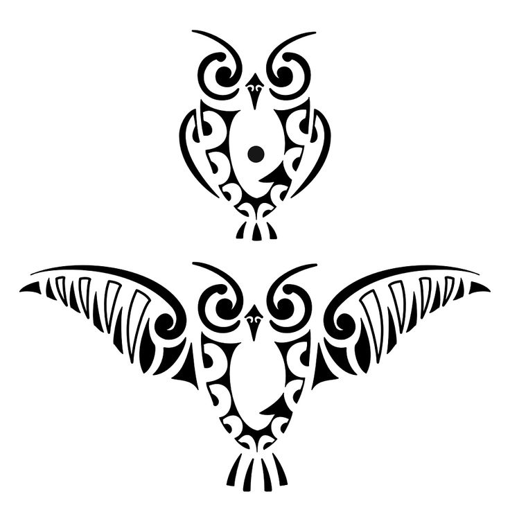 Maori owl tattoo design idea                                                                                                                                                                                 Plus
