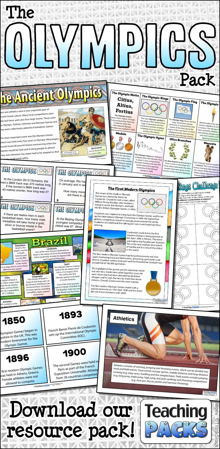 Use our huge collection of Olympics-themed resources in your classroom with our free pack. Includes a range of English, Maths and History resources! Available from http://www.teachingpacks.co.uk/the-olympics-pack/