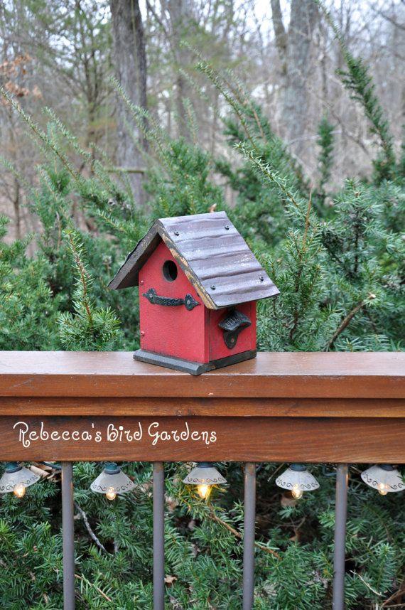 "Red Rustic Birdhouse ~ ""The Cabin"" - Unique Birdhouse - Wooden Birdhouse - Outdoor Birdhouse - Bird House - Shabby Chic Birdhouse"