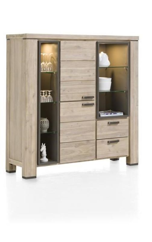 Happy@Home Coiba, highboard 2-deuren + 2-laden + 7-niches (+ LED) - 140 cm | Verouden Wonen & Slapen