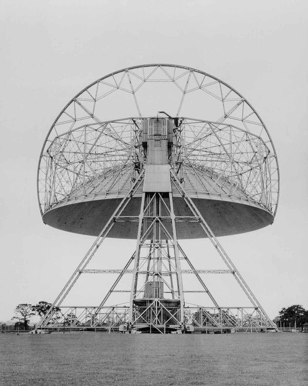 Striking early photo of Jodrell Bank radio telescope with its dish completely upside down