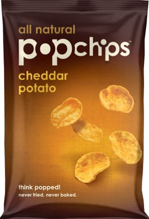 """Cheddar Potato Pop Chips -   Say """"cheese:"""" Cheddar-flavored air-popped potato chips that rack in at just 100 calories per bag is definitely something to smile about."""