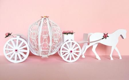 3D Fairytale Horse and Carriage GSD on Craftsuprint designed by Anne Huxter - This stunning 3D Fairytale Horse and Carriage would be an ideal gift/card for a Bride and Groom on their wedding day or equally as fabulous for a little princess in your life.**Please Note: This is a GSD template and needs a Craft Robo or Silhouette to use it. - Now available for download!
