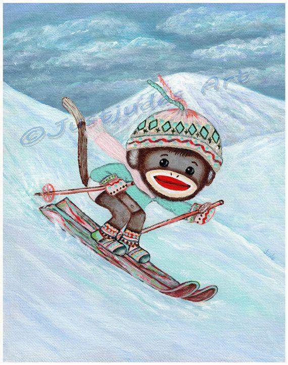 Skiing Sock Monkey print with mat, Sock Monkey Art by JudesTinyArt,