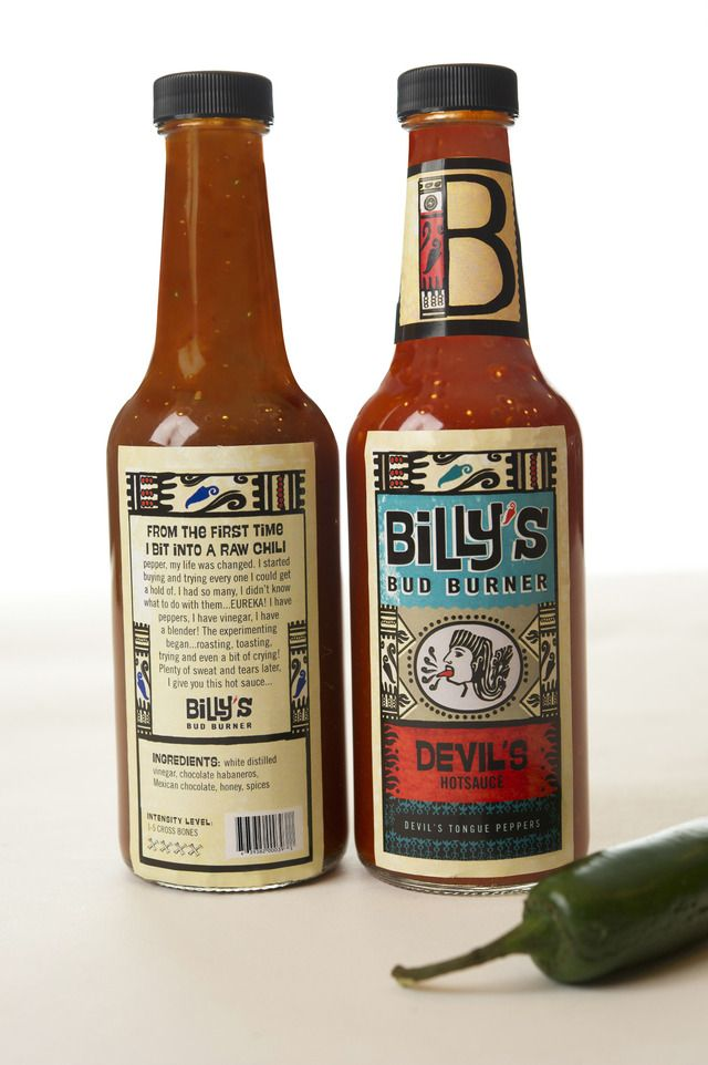 Billy's Bud Burner Hot Sauces branding  Packaging & Branding by Ariana Abud  Font in use: Swung Note