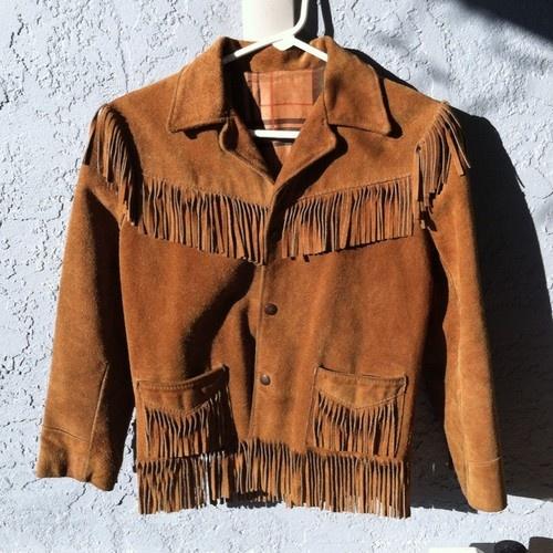 Vintage Jo O Kay Kids Sz 12 Fringe Western Suede Leather