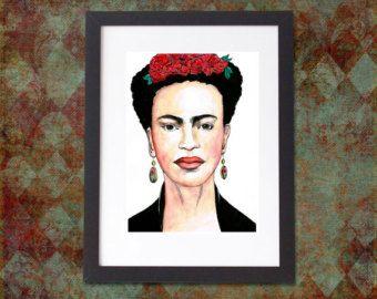 Frida Kahlo A4 Print Ink Frida Kahlo kunst, Mexicaanse kunst, feministische Gift, Boheemse kunst, Frida Khalo, iconische vrouwen, Frida Kahlo portret