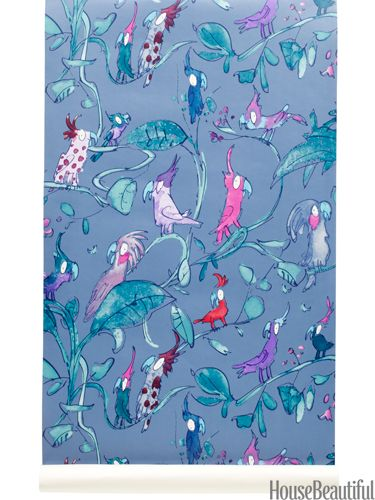 Cockatoos wallpaper for kids' rooms by Osborne & Little. housebeautiful.com. Quentin Blake storybook illustrations turned into wallpaper: how fun!