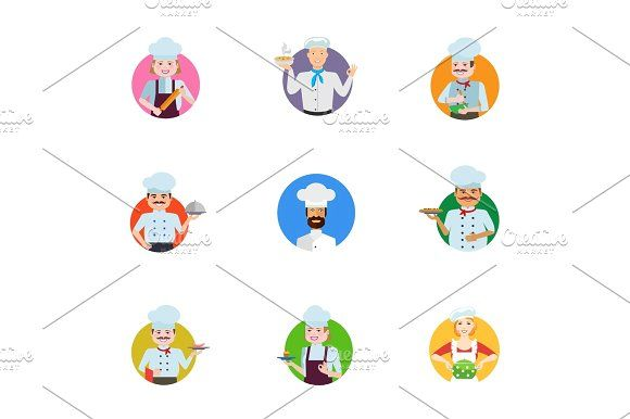 Chef icon set Graphics Chef icon set. Female chef with rolling pin Man with soup bowl Cooking male chef Cook with closed cl by RedlineVector