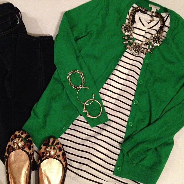 Kelly green, black white and leopard--might also look cute with jeans and brown or gray booties