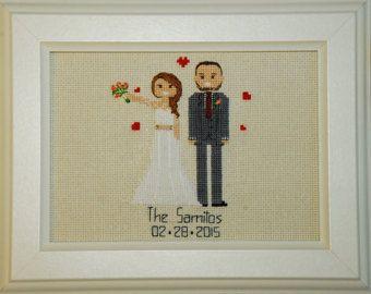 Regalo de aniversario de algodón para ella él cruz puntada retrato personalizado bodas regalo 2 º aniversario presente de esposo a esposa