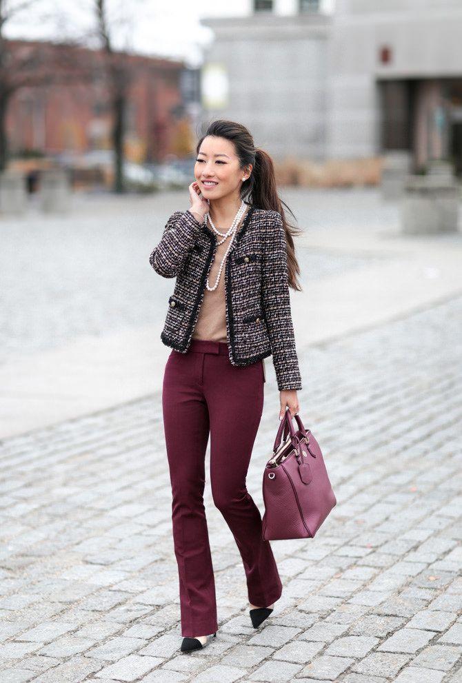 burgundy pants tweed jacket // winter work outfit by extra petite blog