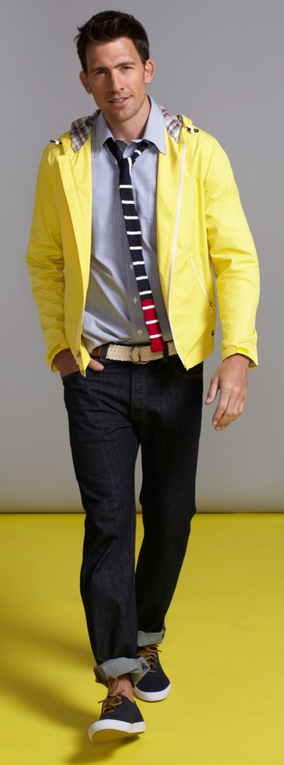Brooks Brothers - yellow Hooded Beach Jacket, blue Oxford Dress Shirt, red Tipped Stripe Knit Tie, rolled Levi's 514 Slim Fit jeans, light brown Cotton D-Ring Macrame Belt