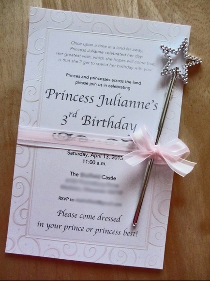 thompson thinking attaching a wand to them princess party invitation crafty party