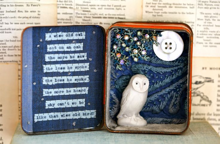 Life at Little Burrow. ( Adorable, but because it's pinterest i had to classify;  embroidery,assemblage,miniature contained world, poetry, fairytale? ELM)