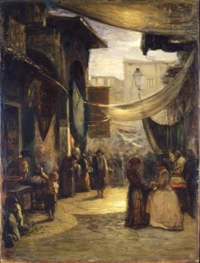 "Antonio Fontanesi ""Mercato vecchio di Firenze"" - ""Old Market of Florence"" (1867)"