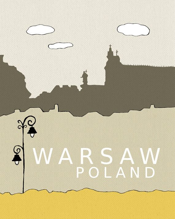 Warsaw, Poland // Modern Baby Nursery Decor, Typography Poster, City Skyline, Giclee, Illustration, American Travel Theme, Digital Print