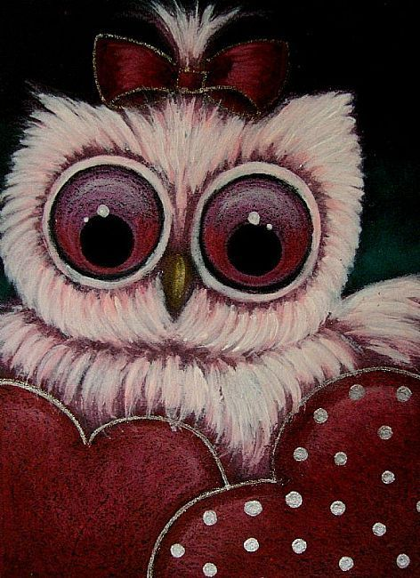 Art: LITTLE PINK OWL   2 HEARTS FOR YOU by Artist Cyra R. Cancel