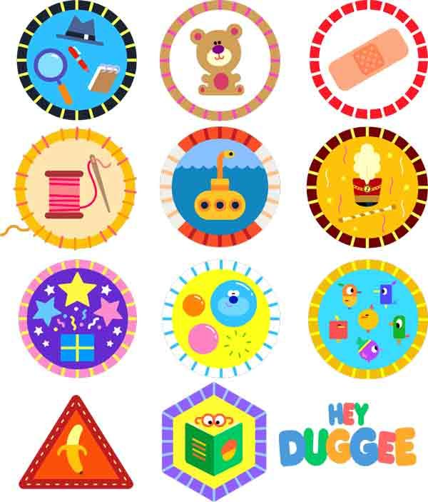 Hey Duggee Badges 47-52 SVGs - detective, teddy bear, first aid, sewing, submarine, big parade, surprise, bubble, birdwatching, be careful, story badge