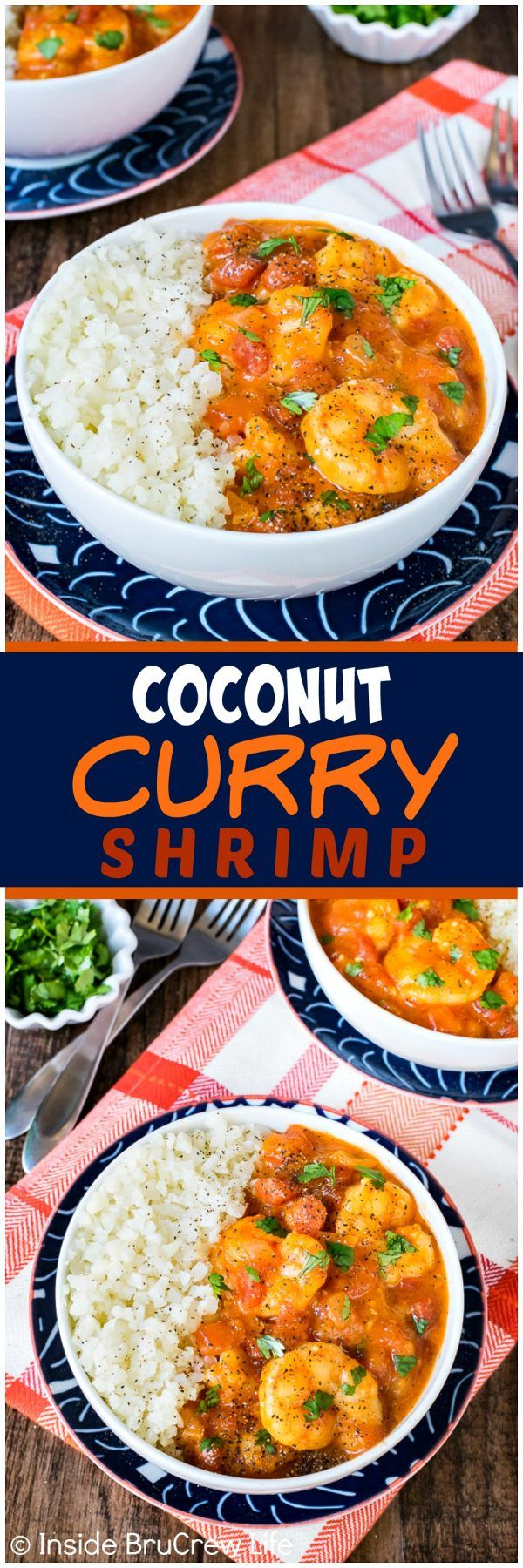 Coconut Curry Shrimp - this easy curry sauce is loaded with veggies and shrimp. This recipe can be made and serve in less than 30 minutes. Awesome healthy dinner for busy nights.  #dinner #leanandgreen #shrimp #healthy #cauliflowerrice #curry