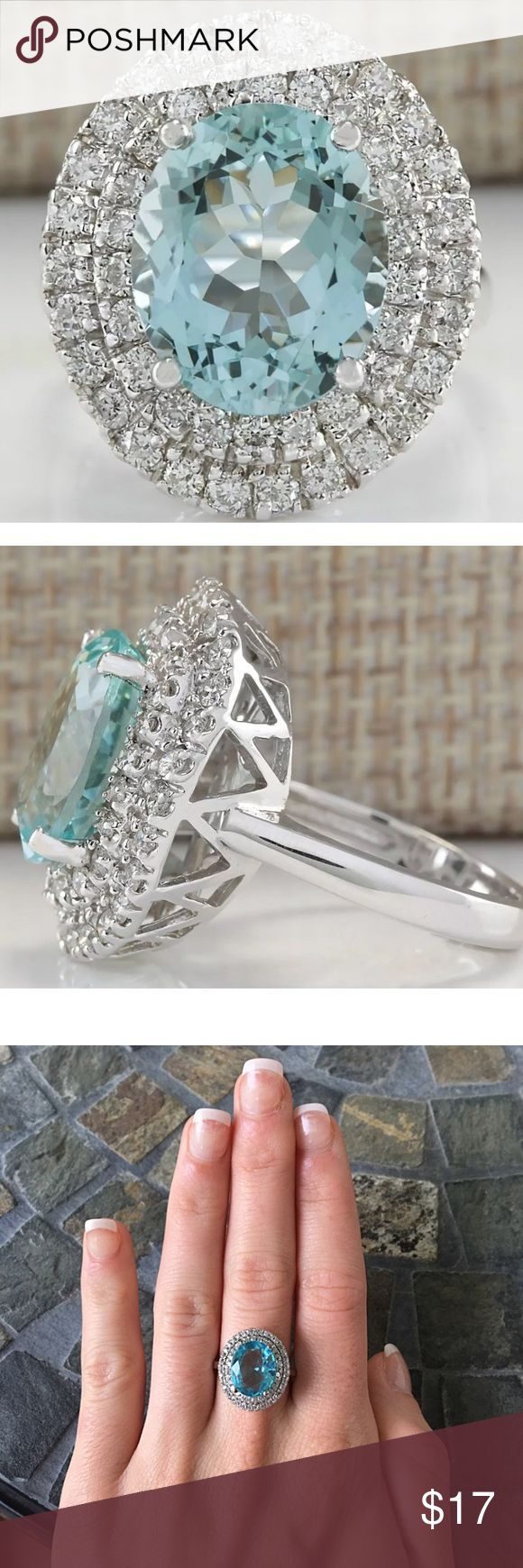 Oval Halo Aqua Gemstone Silver Engagement Ring Amazing cocktail style ring! Huge oval Aqua blue Gemstone in a double halo setting! Silver plated FIRM PRICE/NO TRADES❗️ Jewelry Rings