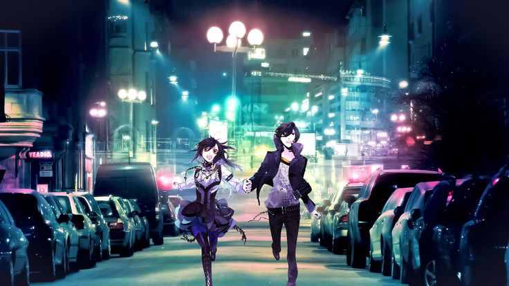 Nightcore Lights anime girl boy cars night city run