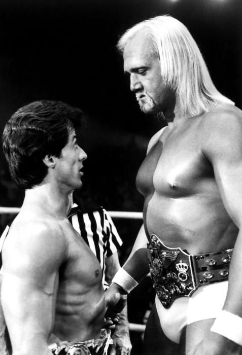 Hulk Hogan, Sylvester Stallone 1982 Rocky III the ultimate male vs the ultimate meat ball.