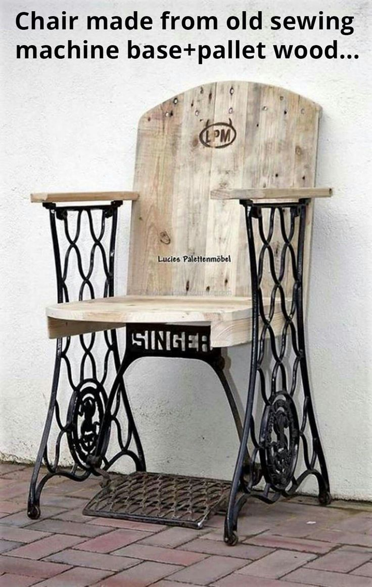Chair Made From Old Sewing Machine Base + Pallet Wood. Via Lucieu0027s  Palettenmöbel