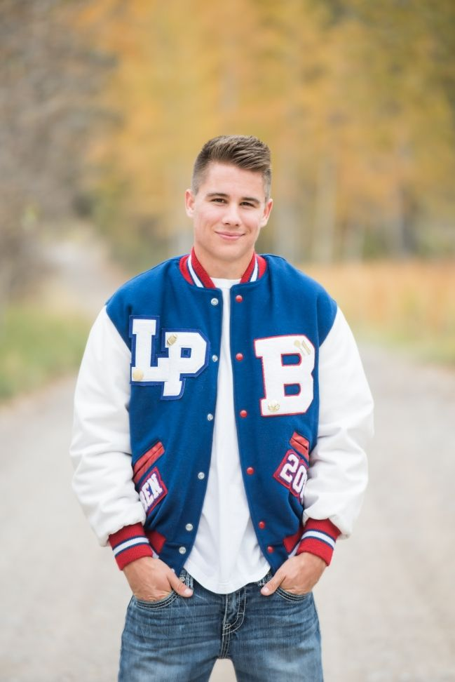 Bigfork Montana Senior Portrait, guy, fall, letterman jacket, By Shawna Benson Photography #seniorinspiration