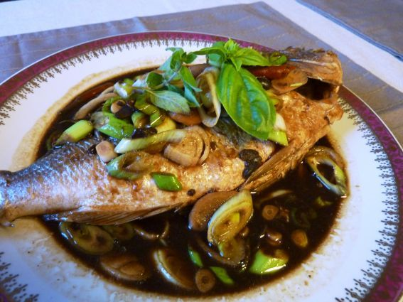 Cambodian style fish with soy bean paste