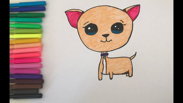 Kawaii Puppy Drawing and Coloring   Learn Colors for Kids   How to Draw a Cute Dog   Los colores - YouTube