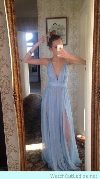 Lovely pastel blue V-neck perfect prom dress