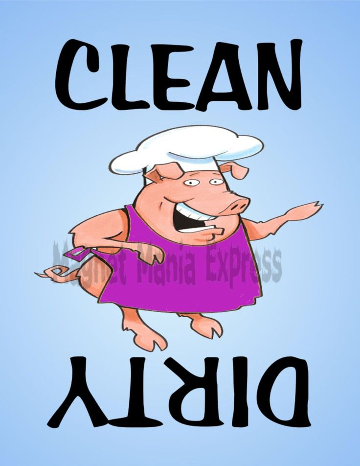 Metal Dishwasher Magnet Pig Chef Purple Apron Clean Dirty Dishes Food Kitchen