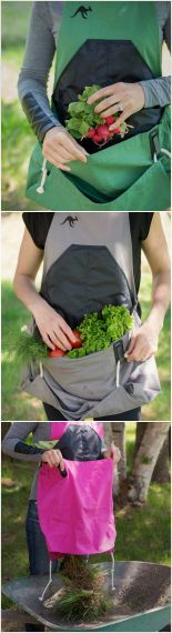 a gardening & harvesting apron that is so simple to use.  fill the pouch, release the ropes, and easily release whatever you have collected.