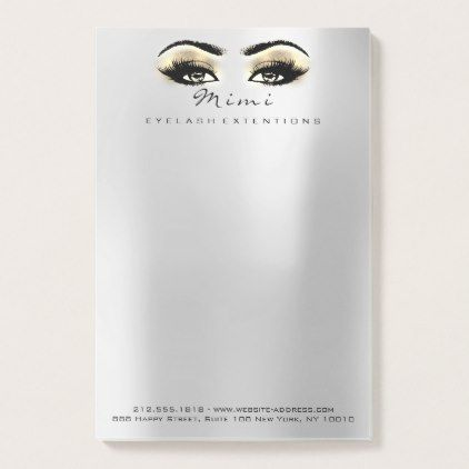 Silver Gray Eyes Gold Name Web Telephone Number Post-it Notes - luxury gifts unique special diy cyo