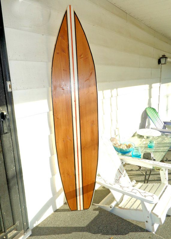 6 Foot Wood Hawaiian natural wood also stained with multiple stripes Surfboard Wall Art Decor or Headboard