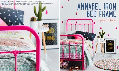 Vintage fluro pink bed frame from Adairs. Love it