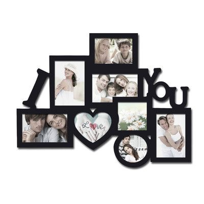 AdecoTrading 8 Opening Wooden Photo Collage Wall Hanging Picture Frame