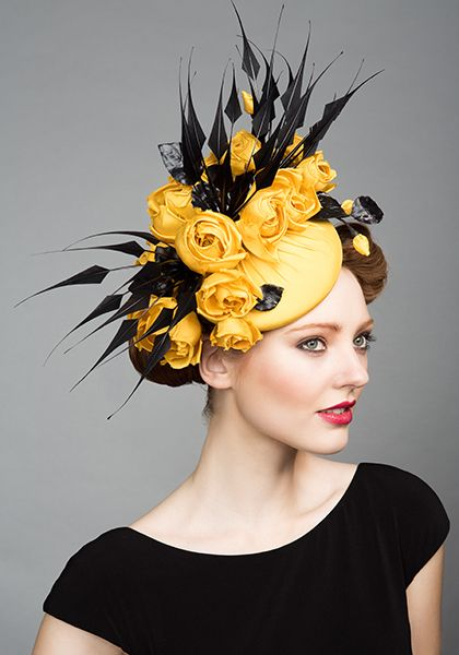 Rachel Trevor Morgan Millinery S/S 2015, R1582 Yellow silk pillbox with roses and black claw feathers