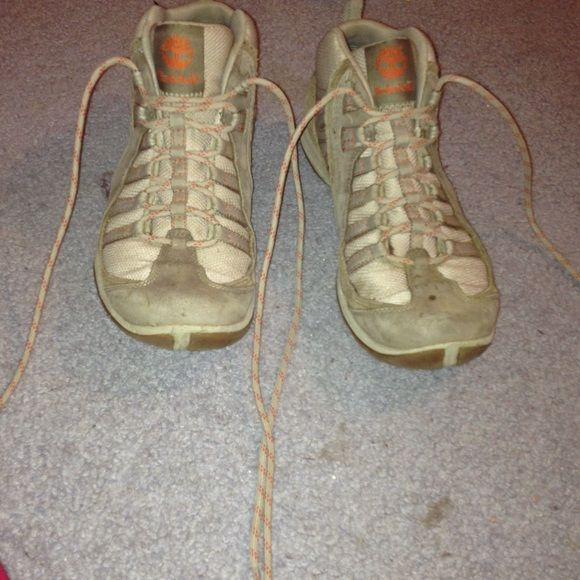 Timberland hiking boots Timberland hiking boots!  Some wear and tear but it is not noticeable!  Lace up hiking boots for a day in the forest!  Size 7! Timberland Shoes